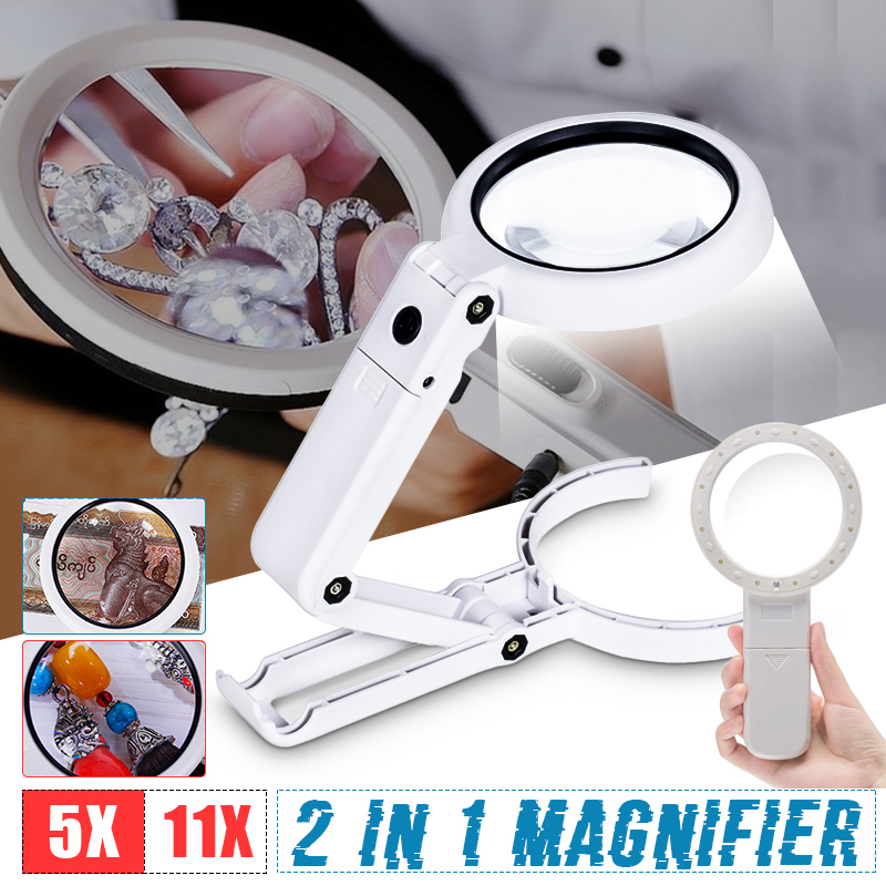 5X 11X Magnifying Glass With 8 LED Lights for Newspaper Lupa Loupe Magnifier Reading Portable Handheld Folding Lamp Illuminated