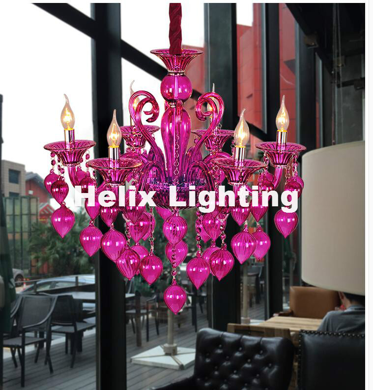 Бесплатная доставка яркая люстра лампы для кофейни свадебный бар синий фиолетовый красный желтый Стеклянная Круглая лампочка современный ... - 3