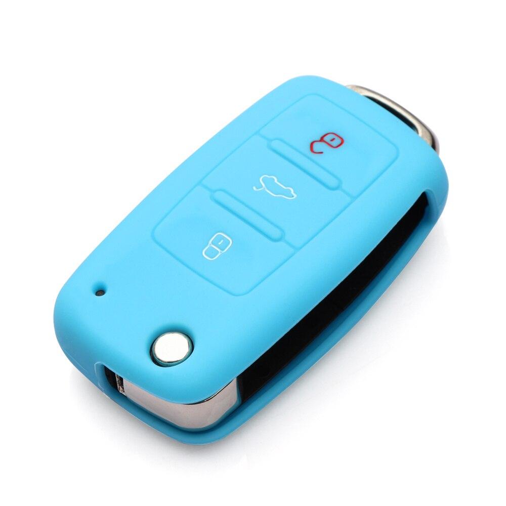 Силиконовый чехол для ключей автомобиля для Volkswagen polo passat golf 5 6 jetta tiguan Gol CrossFox Plus Eos Scirocco Beetle, автомобильный Стайлинг - Название цвета: Синий