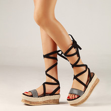 SWYIVY Womens Sandals Wedges 2019 New Summer Sexy Cross-border Woman Black Shoes Hot Ladies Beach Plus Size 42