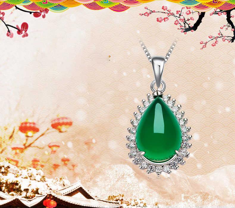 الاسترليني 925 الفضة اللون المرأة قلادة الأخضر اكسيد الالمونيوم المعلقات اليشم النخاع الفيروز الزمرد الترقوة مجوهرات اللون اليشم