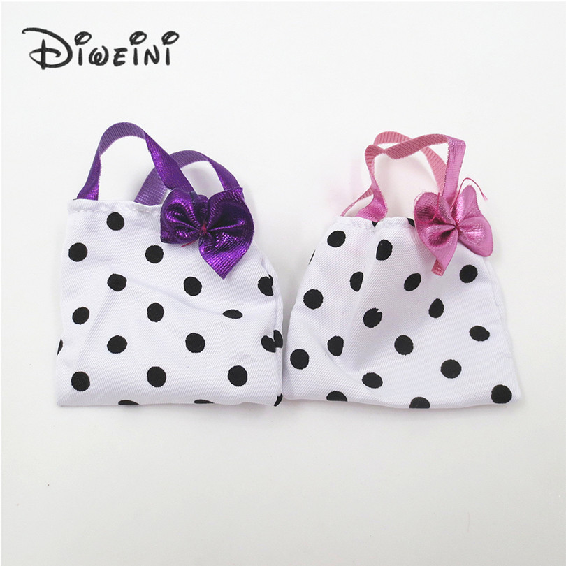 2 PCS Styles Doll Bags Accessories For Barbie Toy Colorized Fashion Morden Bow Tie Dots Bags For barbie dolls outgoing packets пименова т ред принцессы маленькие рукодельницы isbn 9785953964548