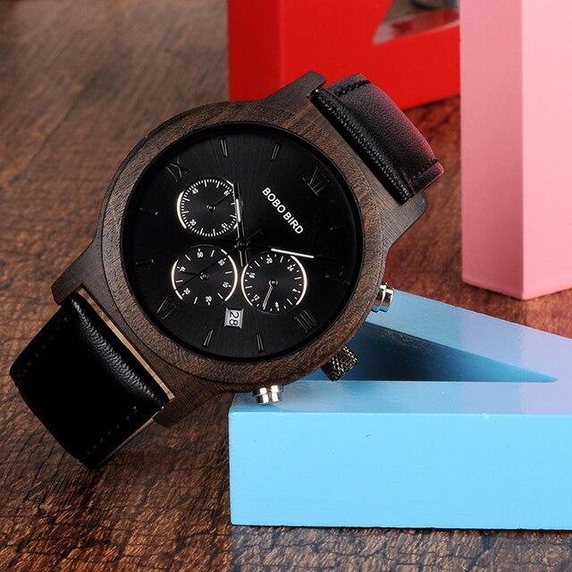 BOBO BIRD WP28 montres hommes en bois de luxe chronographe résistance à l'eau montre à Quartz affichage de la Date cadeau pour hommes dans une boîte-cadeau en bois 1