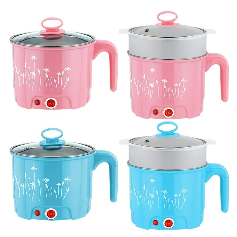 Multifunction Home Mini Electric Skillet Stainless Steel Hot pot Noodles Rice Cooker Steamed Egg Soup Pot Heating Pan 1.8L Multifunction Home Mini Electric Skillet Stainless Steel Hot pot Noodles Rice Cooker Steamed Egg Soup Pot Heating Pan 1.8L