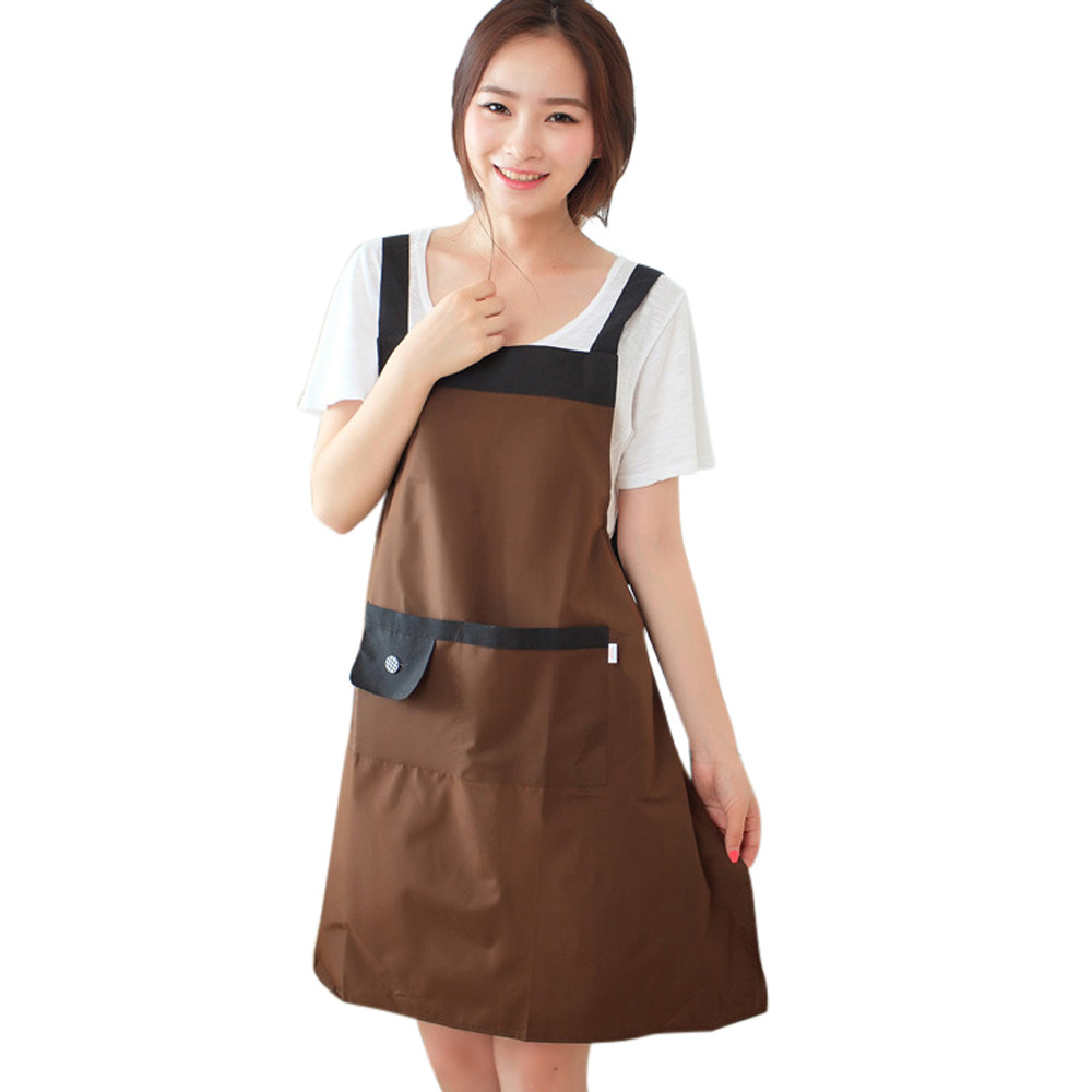 new qualified cute women apron kitchen restaurant bib cooking aprons with pockets dec18 kitchen apron aprons - Cooking Aprons
