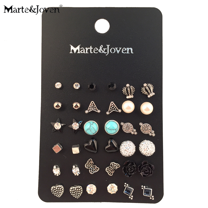 18 Pairs/card Vintage Silver Plated Stud Earring Set Mix Crown Star Flower Heart Butterf ...