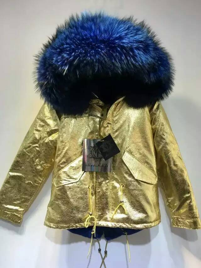 pretty nice fc714 9b08f Gold parka blau kurzes fell mantel, mode damen dicken blauen ...