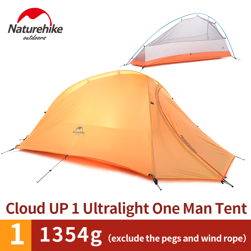 Naturehike 1 Person Tent Double-layer Camping Dome Tent 1 1kg Lightweight  20D Silicone/210T Plaid Fabric Tent NH15T001-T