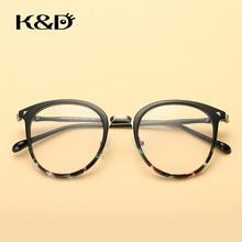 K&D Brand New  Eyewear Retro Floral Gradient Color Frame PC Alloy Glasses Round Shape Accessories Fashion Unisex 88088