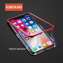 Suntaiho Tempered Glass case for iPhone 7 plus case for iPhone XS MAX 8 plus case XR Magnetic Tempered Glass back Phone X Case