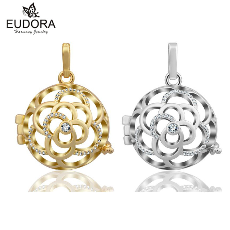 Angel Caller Hollow Flower Crystal Cage Pendant Harmony Bola fit Bell Ringing Chime Pendant For Women Baby Angel Caller Jewelry