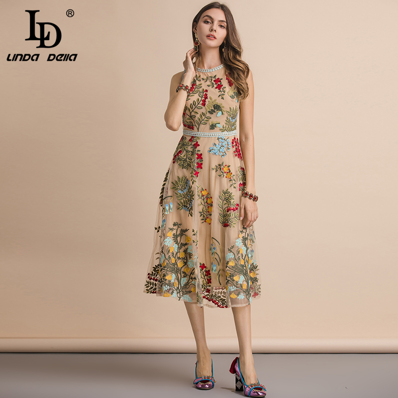 LD LINDA DELLA New 2019 Summer Sleeveless Dress Women's Flower Embroidery Mesh Overlay Temperament Slim Elegant Midi Dresses