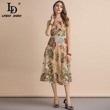 LD LINDA DELLA New 2019 Summer  Sleeveless Dress Womens Flower Embroidery Mesh Overlay Temperament Slim Elegant Midi Dresses