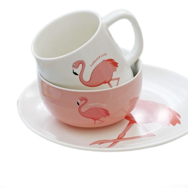 ins stil keramik flamingo muster tasse milch becher pinky suppe schssel teller salat teller cartoon geschirr - Geschirr Muster