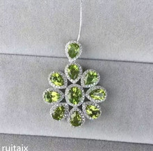 KJJEAXCMY boutique jewels  S925 Pure silver inlay natural olivine pendant female style jewelry mnjkhyui