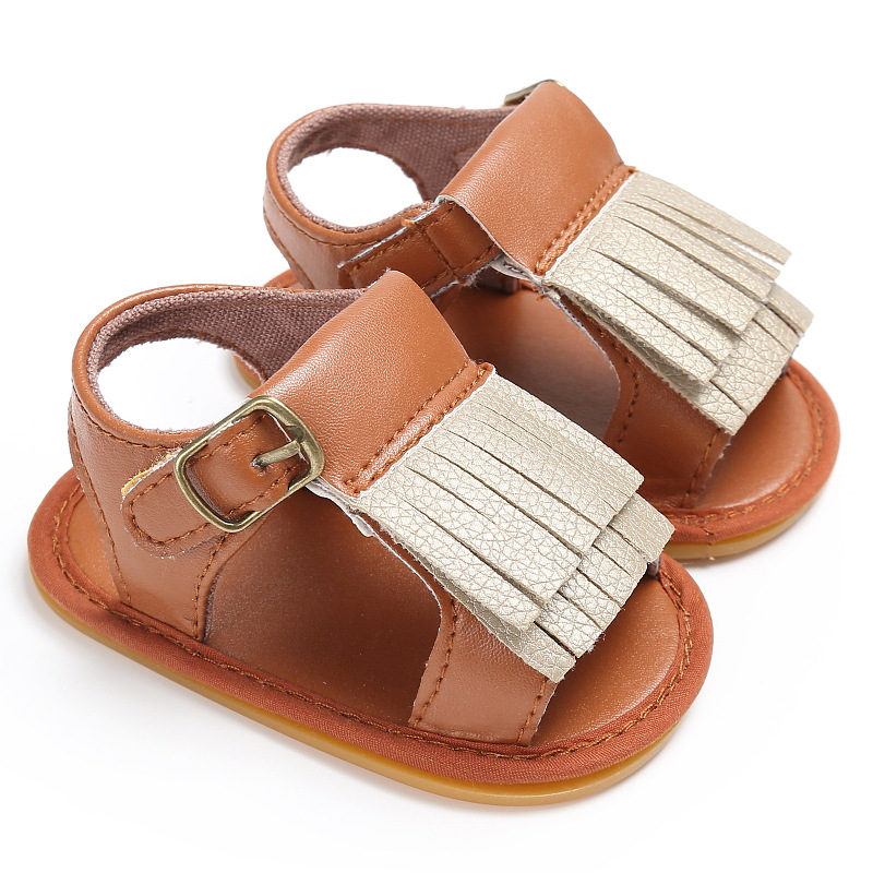 2017 new Summer 0-1 year old baby boy and girl rubber mats non-slip newborn PU leather baby sandals baby shoes kids accesories