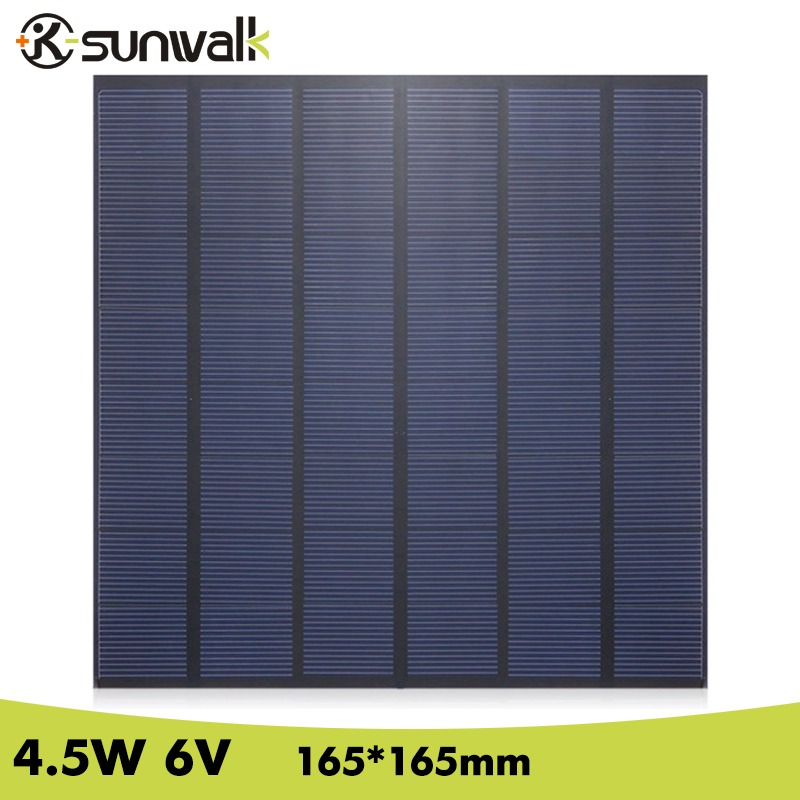 SUNWALK 4.5W 6V DIY Solar Cell Panel Module Polysilicon 750mAh DIY Mini 6V Solar Panel for Test and Education 165*165mm