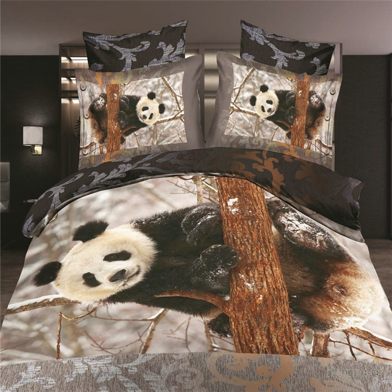 reactive 3d panda wolf cot bedding set duvet/doona cover bed sheet pillow cases 4pcs que ...