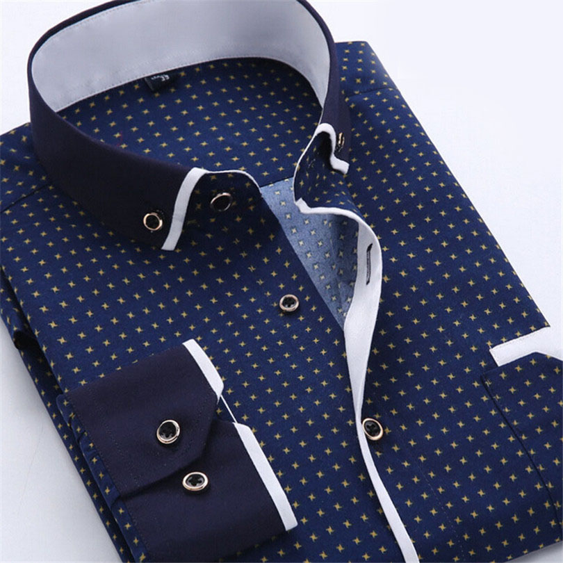 Super Male Shirts Stitching Camisa Masculina Office Shirts Social ...