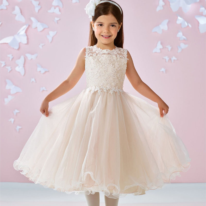 2017 New Flower Girls Dresses Lace Applique Tulle Backless Tea-length Sleeveless Sweety Ball Gown Birthday First Communion Dress