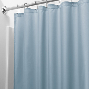 Image 5 - Light Solid Polyester Shower Curtain Mildew Resistant Bath Curtain For Hotal Waterproof Fresh Durable Bathroom Partition Curtain