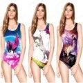 Rainbow Unicorn Women's One Piece Swimsuit Cute Alpaca 3D Digital Printing Swimwear Antelope Star Bodysuit