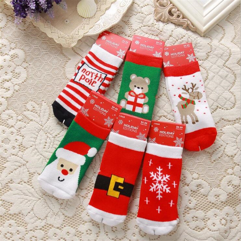 2018 Cute Christmas Themed Cartoon skarpetki dla niemowląt Niemowlę Chłopcy dziewczęta Bawełniane Zagęścić Zimowe Skarpetki Maluch Wchłonąć potu Skarpety Jeden Rozmiar