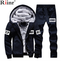 Riinr Tracksuit Men Sporting Fleece Thick Hooded Brand Clothing Casual Track Suit Men Jacket+Pant Warm Fur Inside Sweatshirt