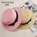 Пляж Креативный дизайн соломы Fedora Панама соломенная шляпа на открытом воздухе на открытом воздухе летом шляпу женский раза вернуться gorras