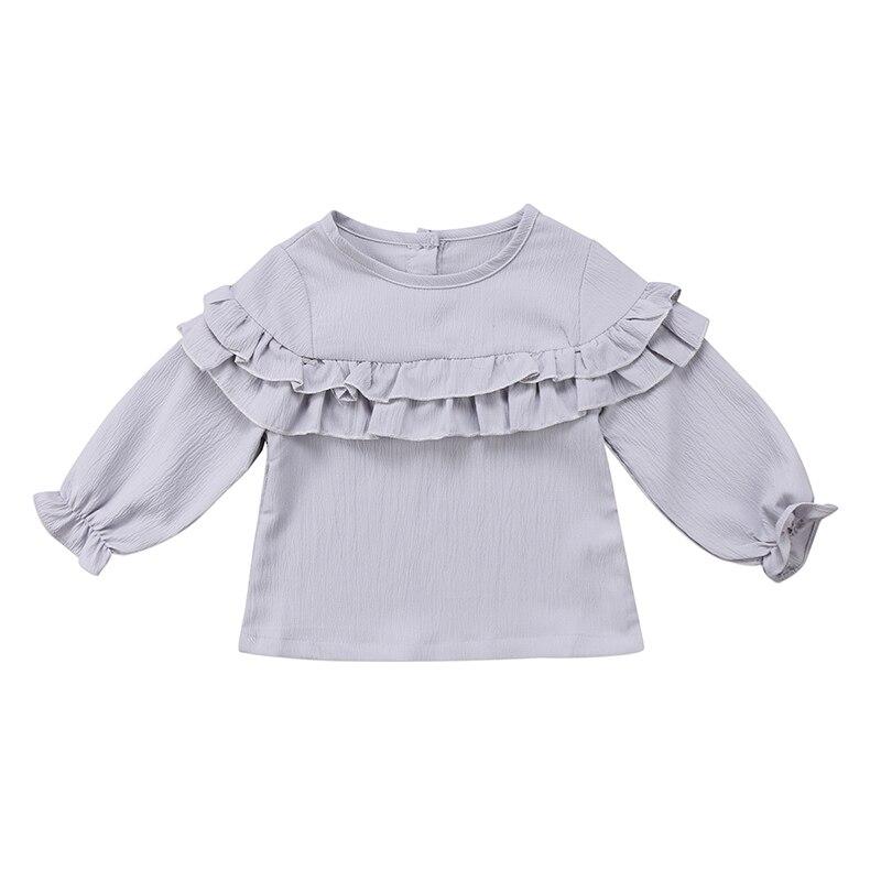 0-3y Neugeborenen Kleinkind Kinder Prinzessin Baby Mädchen Langarm Einfarbig Rüschen T-shirt Blusa Tops Kinder Kleidung