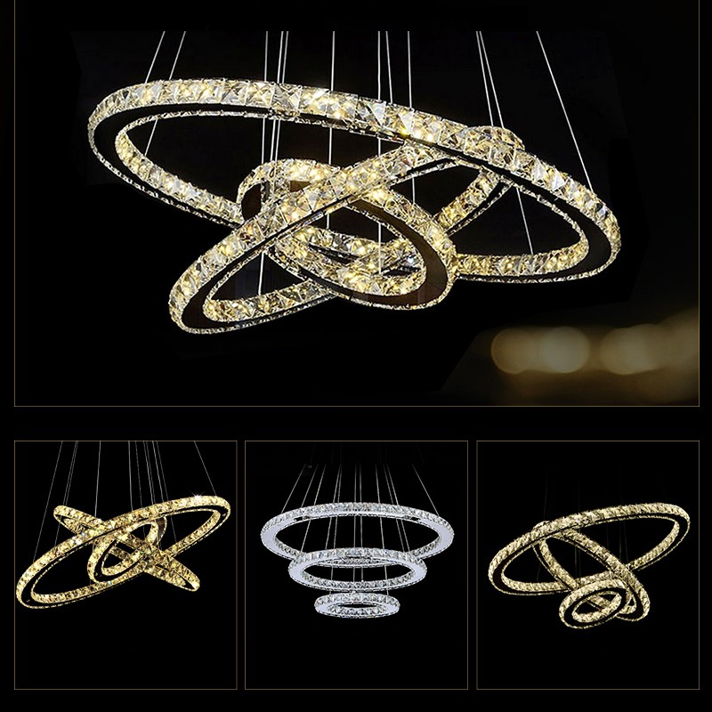 Hot sale Diamond Rings LED Crystal Chandelier Light Modern Led Suspension Lumiere 3 Circles Hanging Lamp Lustres de Home Light цена