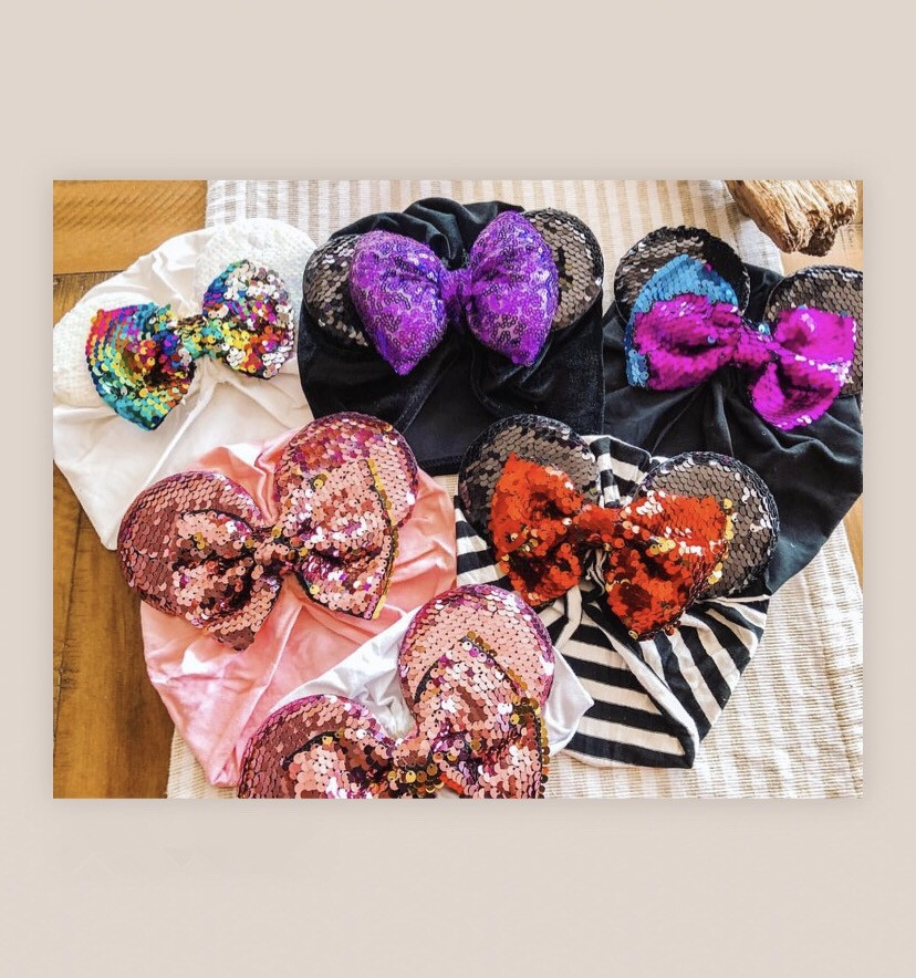 Spring / summer infant Beanie Turban Hat Baby Minnie Mouse Ears Hairband With Sequin Hair Bows Photography Props cap(China)