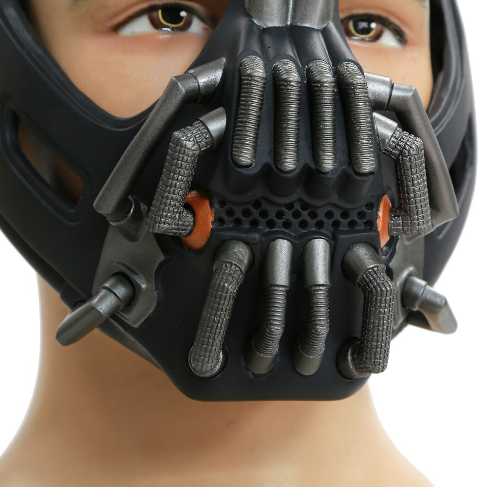 2016 xcoser hot movie batman the dark knight rises bane mask gun metal high level pvc - Halloween Costumes Bane