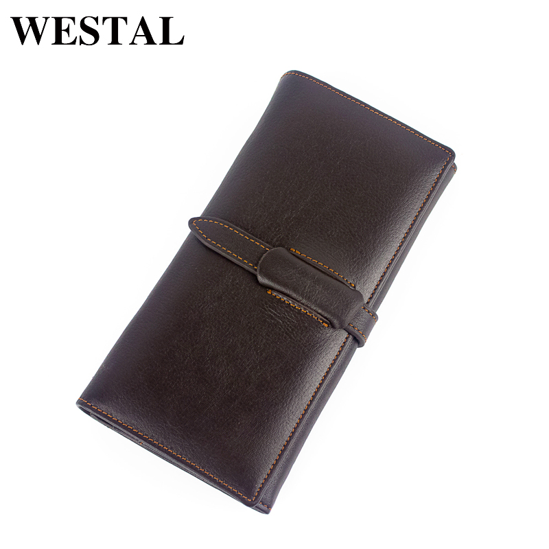 WESTAL Top Genuine Cowhide Leather Men Wallets Men Long Wallet Coin Purse Male Clutch Vintage Standard Wallet Card Holder 6008 mens wallets black cowhide real genuine leather wallet bifold clutch coin short purse pouch id card dollar holder for gift