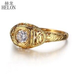 Image 2 - HELON 固体 10 18k イエローゴールドラボ成長ダイヤモンド婚約リング 0.3CT Moissanites ヴィンテージ古典的な結婚指輪ジュエリーの女性のギフト