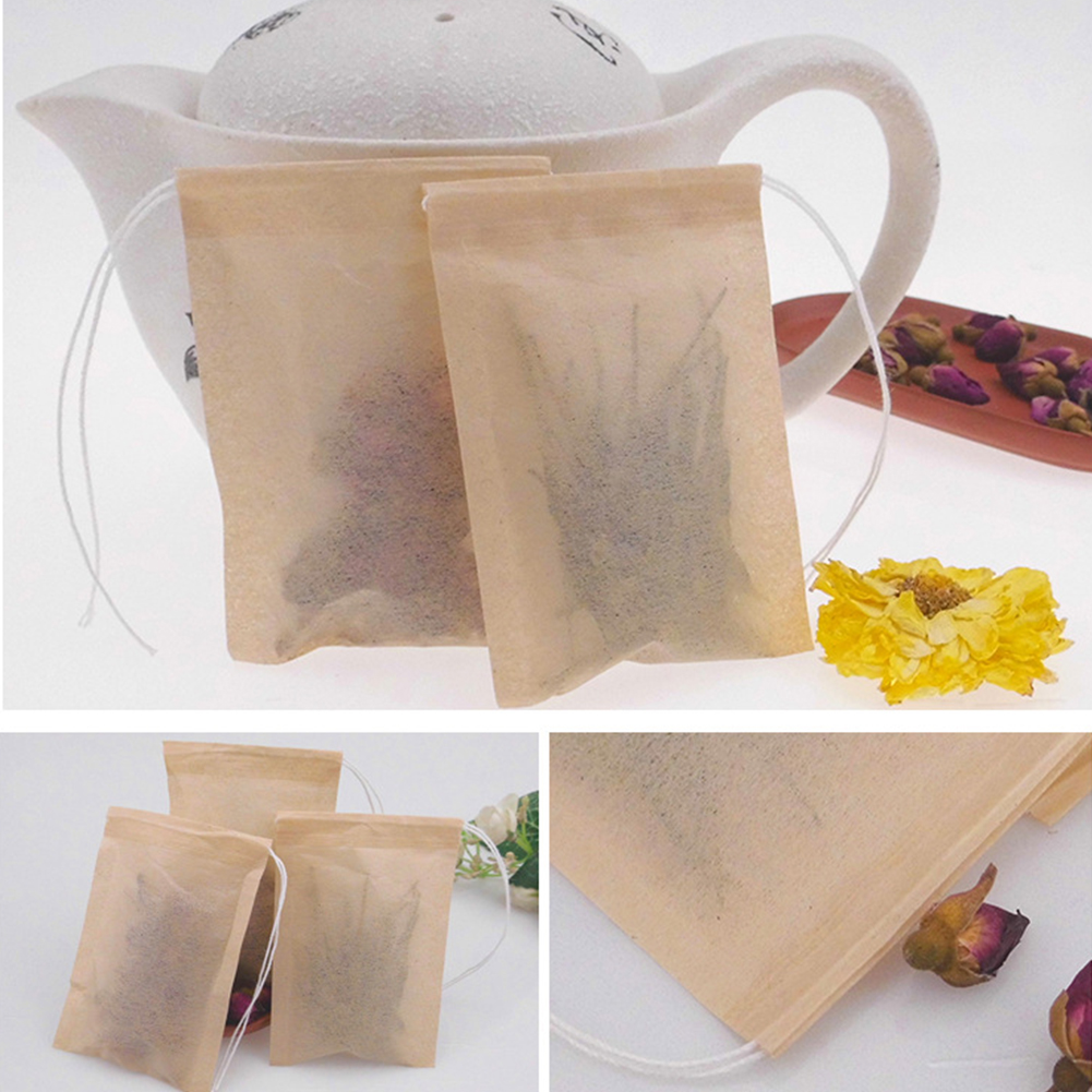 100Pcs Coffee Filter Bag Sterile Infusion Non-toxic Thin Eco-friendly With Drawstring Disposable Empty Accessories Tea Herb