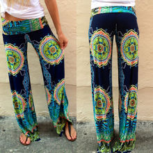 New Fashion Women's Floral Casual Wide Leg Long Stretch Pants Loose Trousers Ladies Hot Summer Clothing