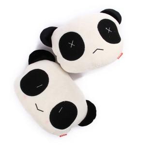 2X Söt 26 * 18cm Tecknad Panda Pussel Kudde Auto Waist Kudde Bil Sitta Nackstöd Nackstöd Kudde