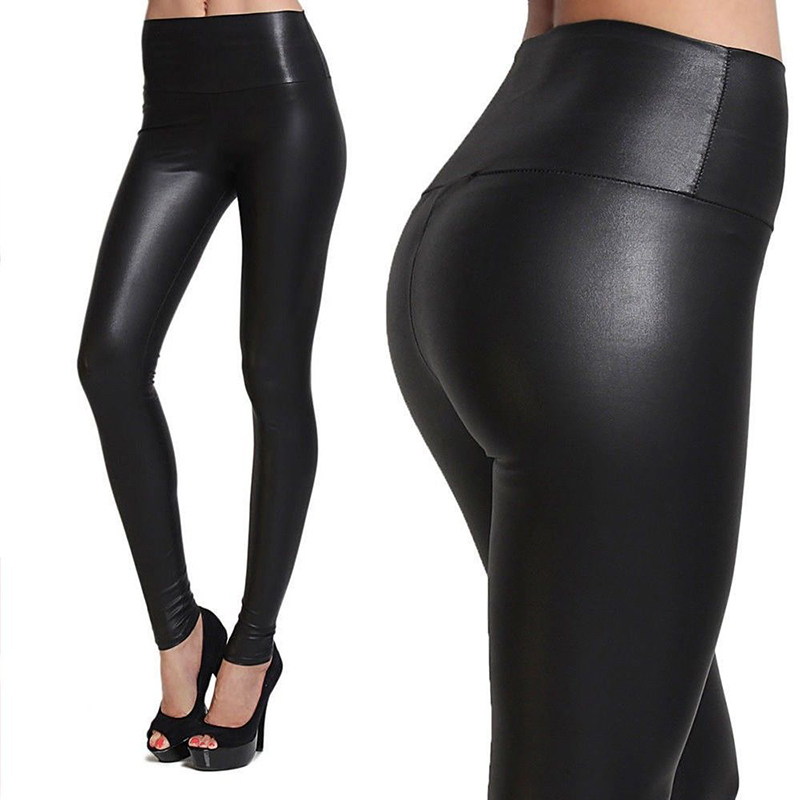 FITTOO S-XL New Autumn 2019 Fashion Faux Leather Sexy Thin Black Leggings Calzas Mujer Leggins Leggings Stretchy Trousers