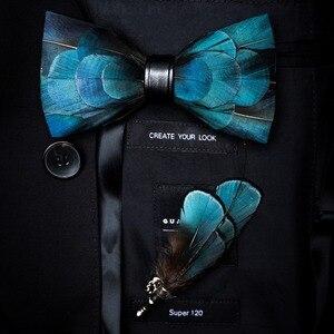 Image 2 - RBOCOTT Handgemaakte Veer Vlinderdas en Broche Set Voor Mannen Accessoires mannen Luxe Bowtie Breastpin Set met Doos Voor huwelijkscadeau