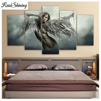 5D DIY Diamond Embroidery Fantasy Angel Warrior WingFull Square Round Drill Diamond Painting Cross Stitch 5pcs Wall Art FS4919