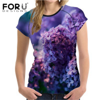 FORUDESIGNS Wholesale Short Sleeve Women T Shirt Stylish Purple Lavender Print Top Tees for Ladies Brand Clothes Feminina Shirts
