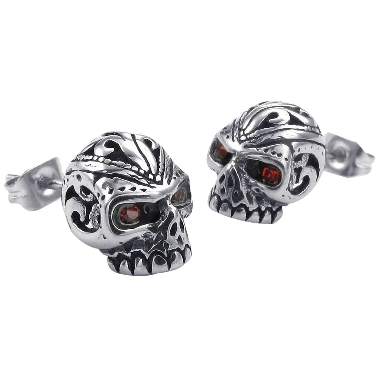 Velvet Bag Jewelry Mens Earrings, Gothic Skull Skull Stud, Zirconia Stainless Steel, Red Silver