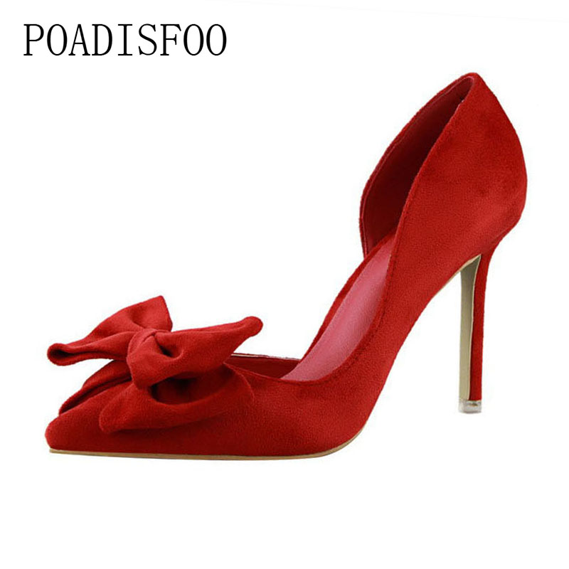 POADISFOO 2018 pumps high-heeled Shoes Fine With High Heel Shallow Mouth Pointed Suede Side Hollow Bow women's Shoes .PSDS-519-1 bigtree spring autumn sexy banquet women pumps shallow mouth pointed suede pearl hollow 9 cm fine high heels shoes