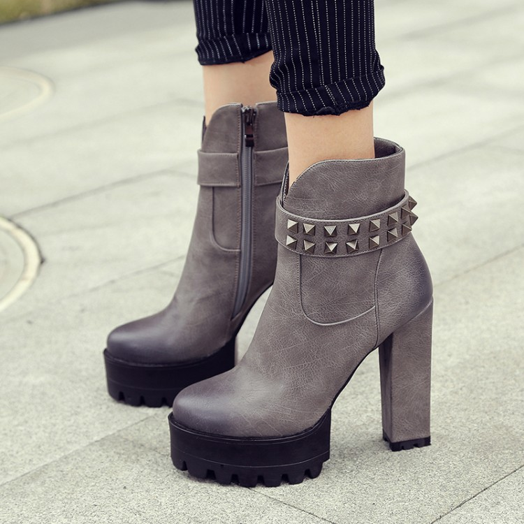 ФОТО 2016 fashion rivet thick heel side zipper autumn and winter boots small yards 32 33 plus size 40 - 42 women's boots