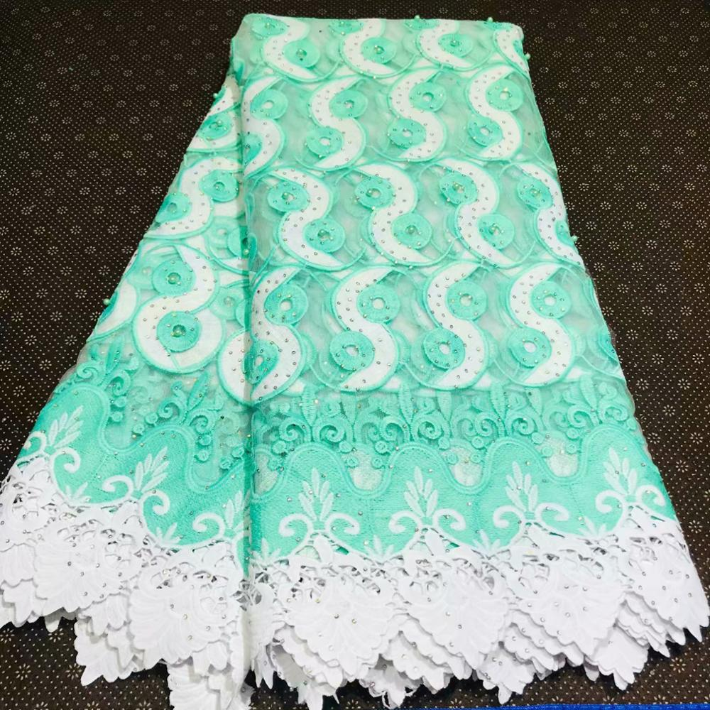 pretty african cord lace water soluble net fabric flowers with beads 5yards high quality swiss voile