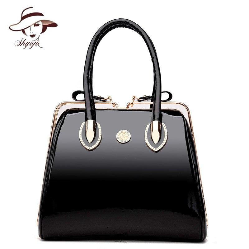 e1e42f83d Luxury High Quality Black Patent Leather Women Bag Ladies Famous Brand  Messenger Handbag Party Purse Tote