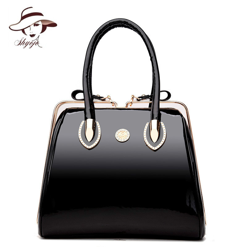 все цены на Luxury High Quality Black Patent Leather Women Bag Ladies Famous Brand Messenger Handbag Party Purse Tote Designer Crossbody Bag