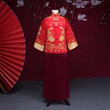 Новое поступление мужской cheongsam китайский стиль костюм жениха платье куртка длинное платье Традиционный китайский торжественное платье для мужчин