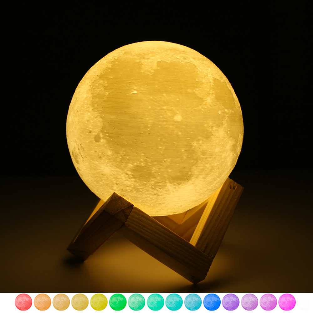 3D USB LED Magical Moon Night Light , Moonlight Table Desk Moon Lamp , Remote control Touch Color Changable Lights Home Decor image
